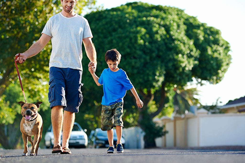 dad-and-son-walking-dog-in-suburbs
