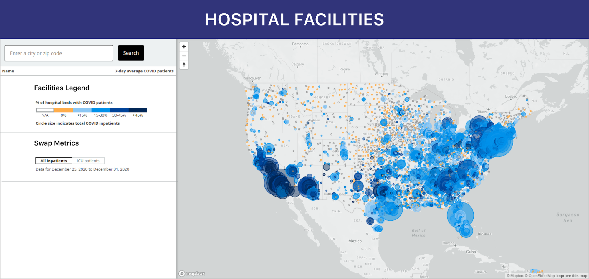 Interactive map of hospitals across the US, showing each facility's COVID-19 patient load and remaining bed capacity.