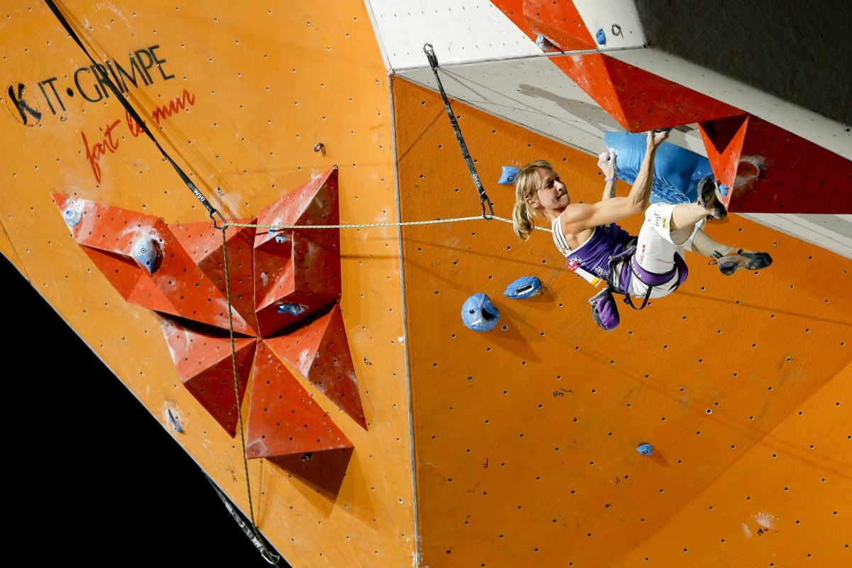 Angela Eiter performs during the IFSC World Climbing Championships in Paris