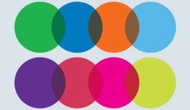 Multiple coloured circles intwined