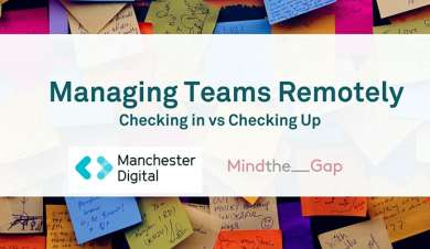 Managing your team remotely: checking up vs. checking in Logo with Manchester Digital and Mind the gap logos