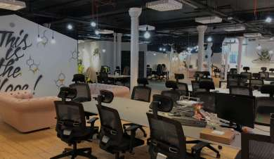 desks and chairs in an open plan co-working space