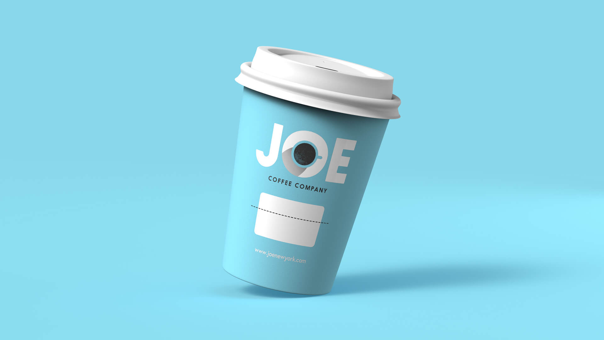 Coffee cup against blue background