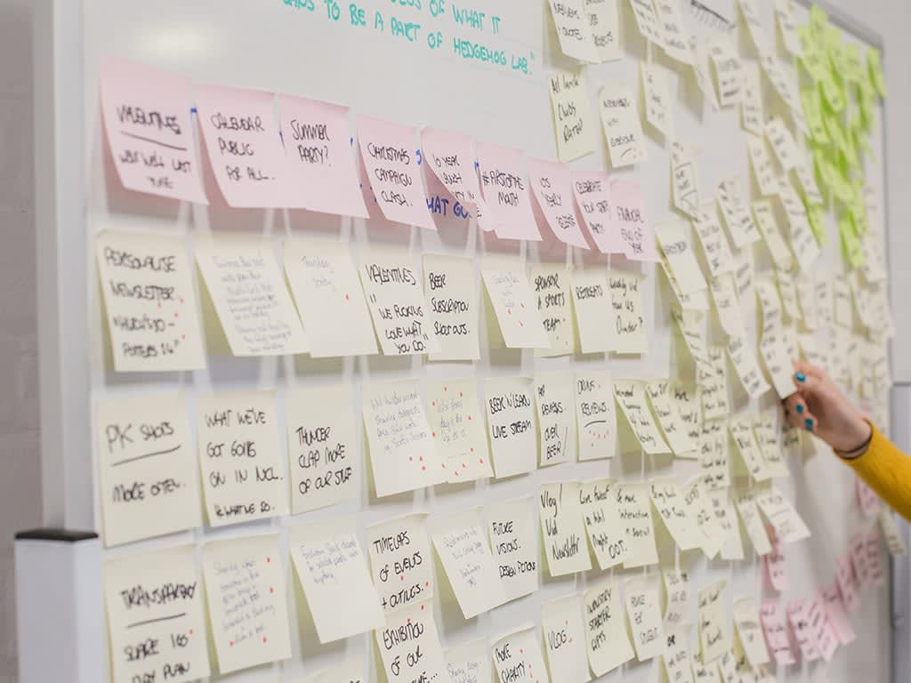 Discover homepage image with post it notes