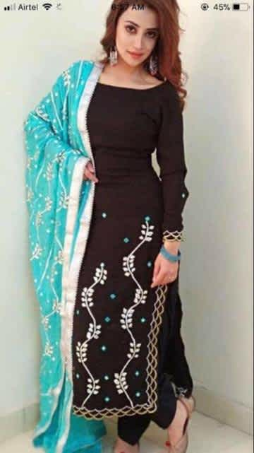 Black suit with sea green dupatta
