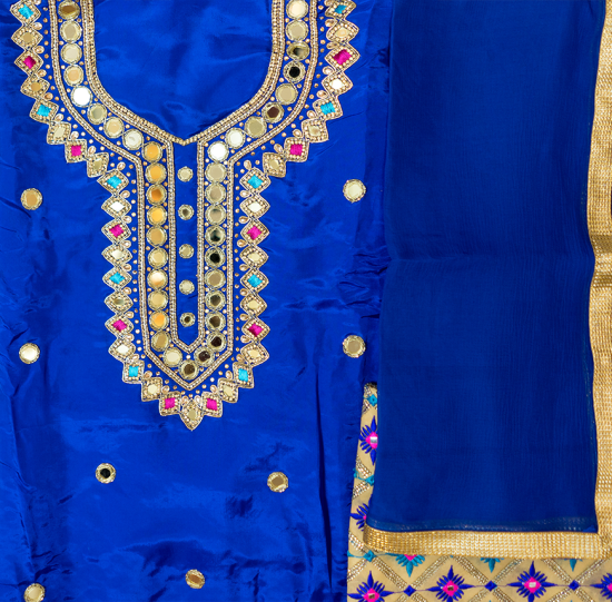 Royal Blue suit with phulkari salwar