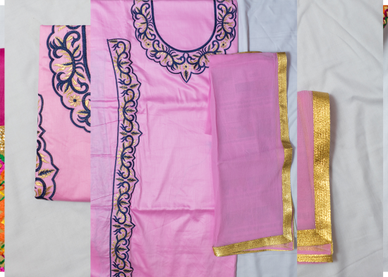 Pink Cotton with Thread Work
