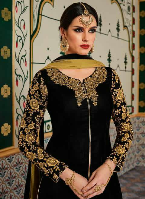 Black suit with golden design
