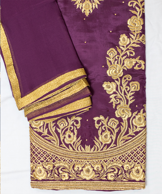 Magenta Suit with Golden Embroidery