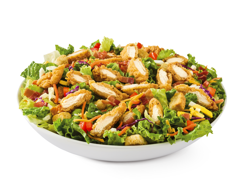 Chicken tenders, hard-boiled eggs, smoked bacon, tomatoes, croutons and Cheddar on mixed greens with choice of dressing.