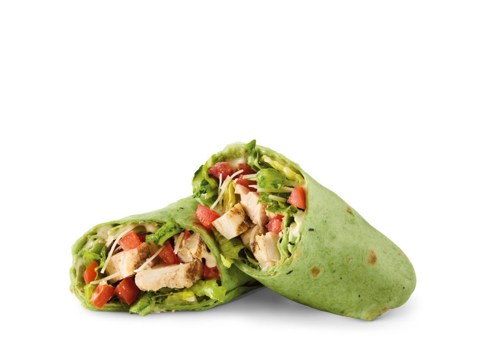 Sliced chicken breast, Parmesan, romaine, tomatoes and Caesar dressing in a spinach tortilla.