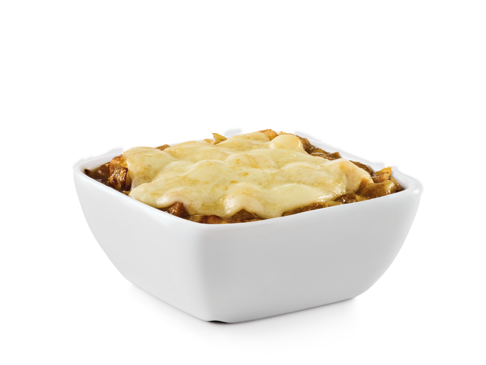 Rich beef broth and sautéed onions topped with melted Provolone and Parmesan.