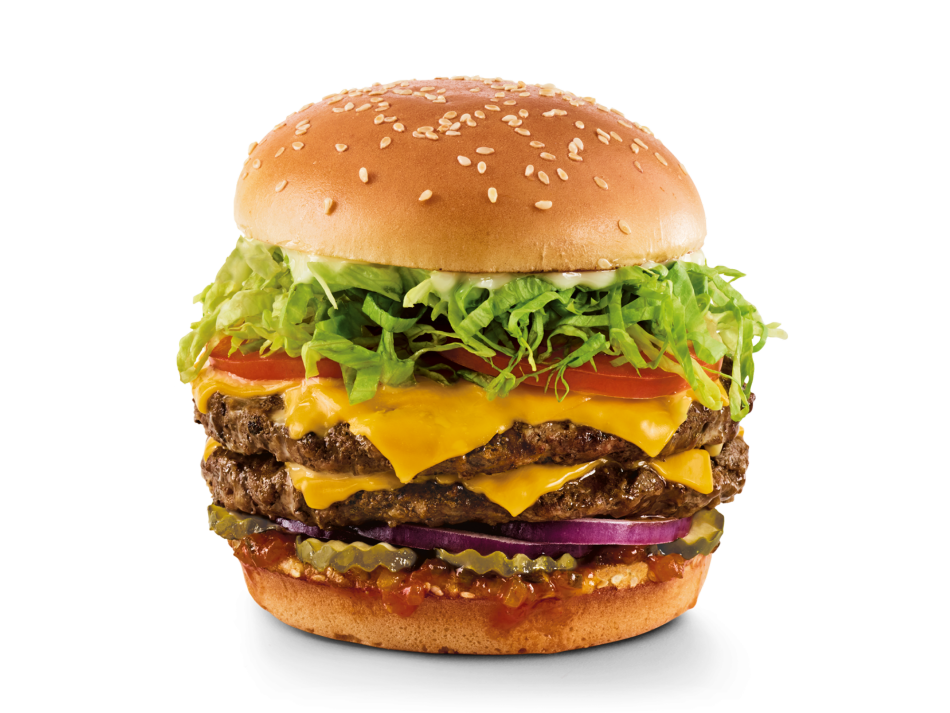 Two Gourmet patties, your choice of cheese, red onion, Red's Pickle Relish, pickles, shredded lettuce, tomatoes and mayo.