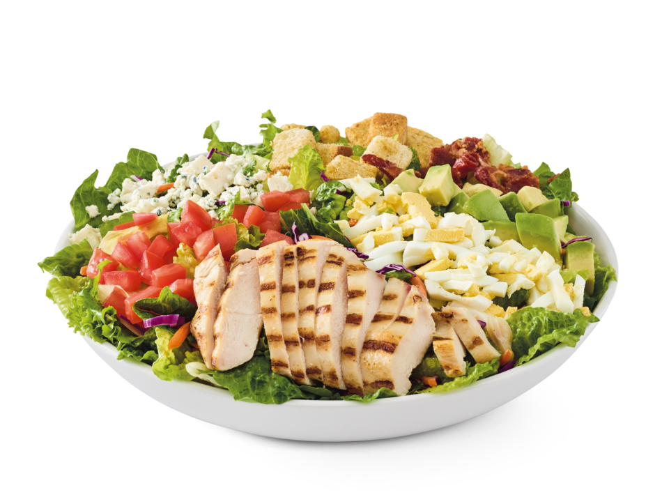 Grilled chicken, bacon, Bleu cheese, hard-boiled eggs, tomatoes, croutons and avocado on mixed greens with choice of dressing.