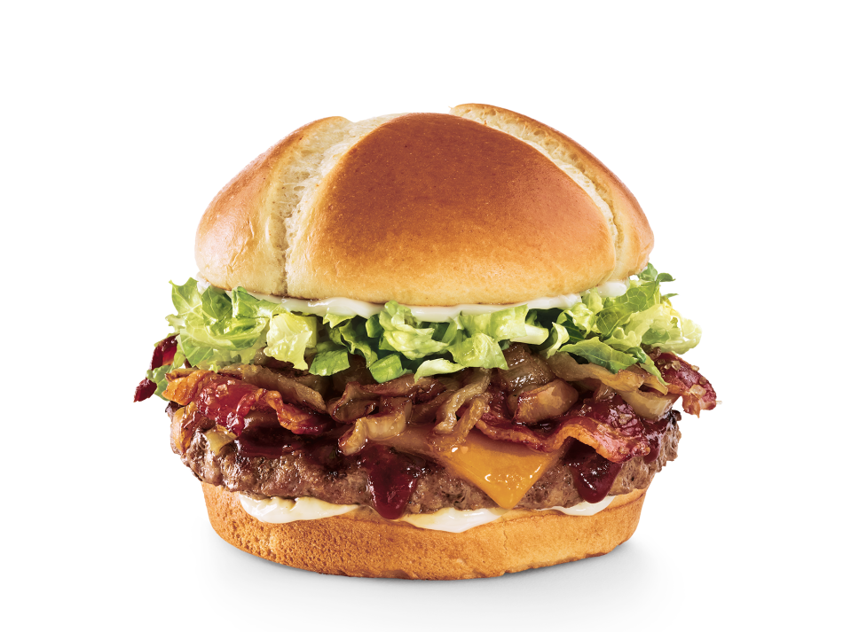 Brown sugar glaze, candied bacon, Whiskey River® BBQ Sauce, Cheddar, caramelized onions, lettuce and mayo on a toasted brioche bun.