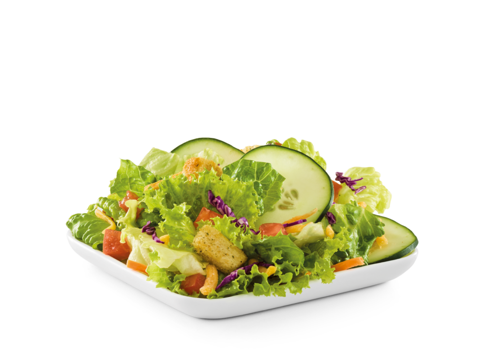 Diced tomato, sliced cucumber, shredded Cheddar cheese and croutons on mixed greens with choice of dressing.