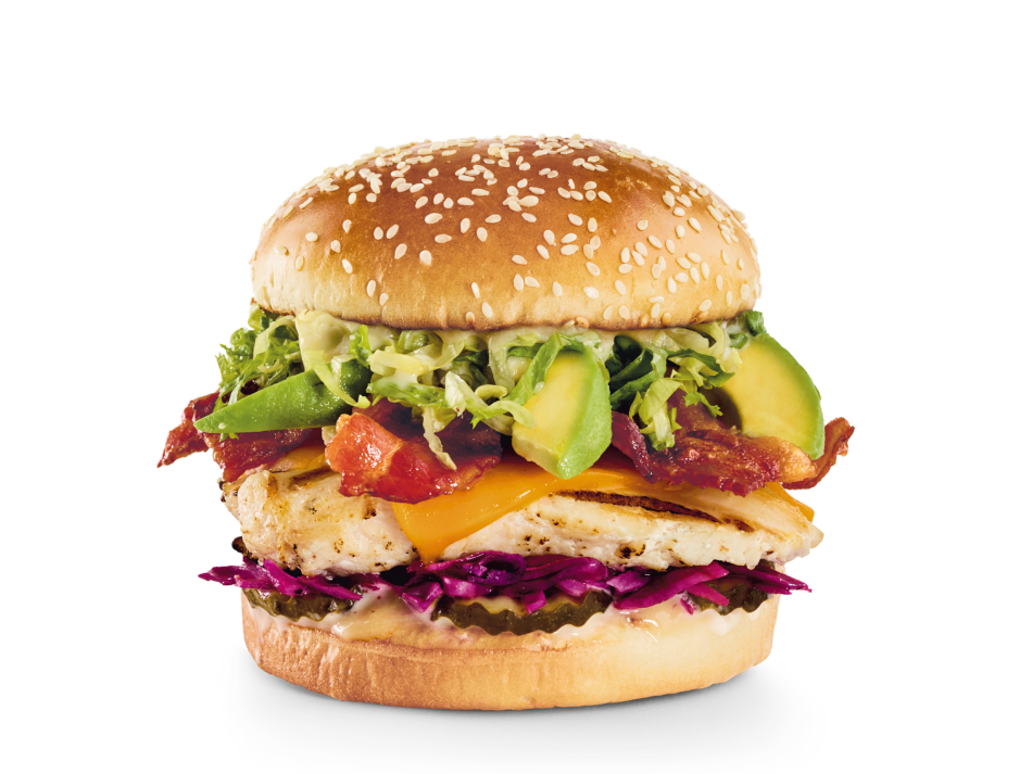 Grilled chicken breast with Asian-inspired honey-miso sauce, sweet & sour slaw, bacon, Cheddar, avocado and lettuce.