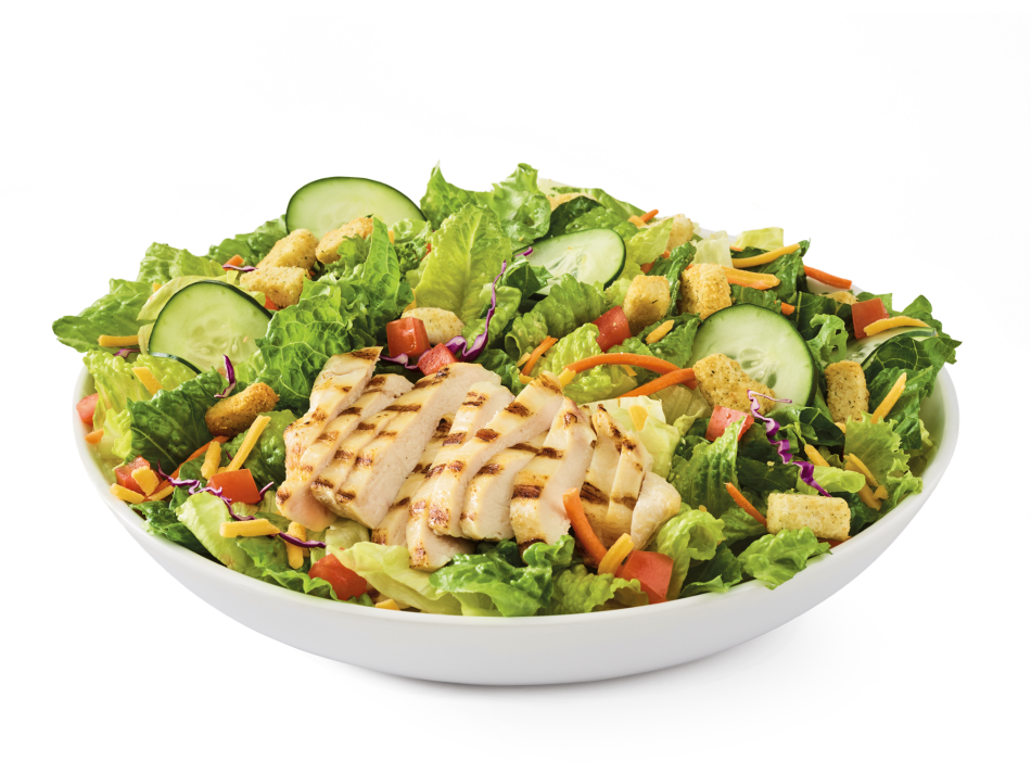 Grilled chicken breast, Cheddar, tomatoes, croutons and cucumbers on mixed greens. Served with choice of dressing.