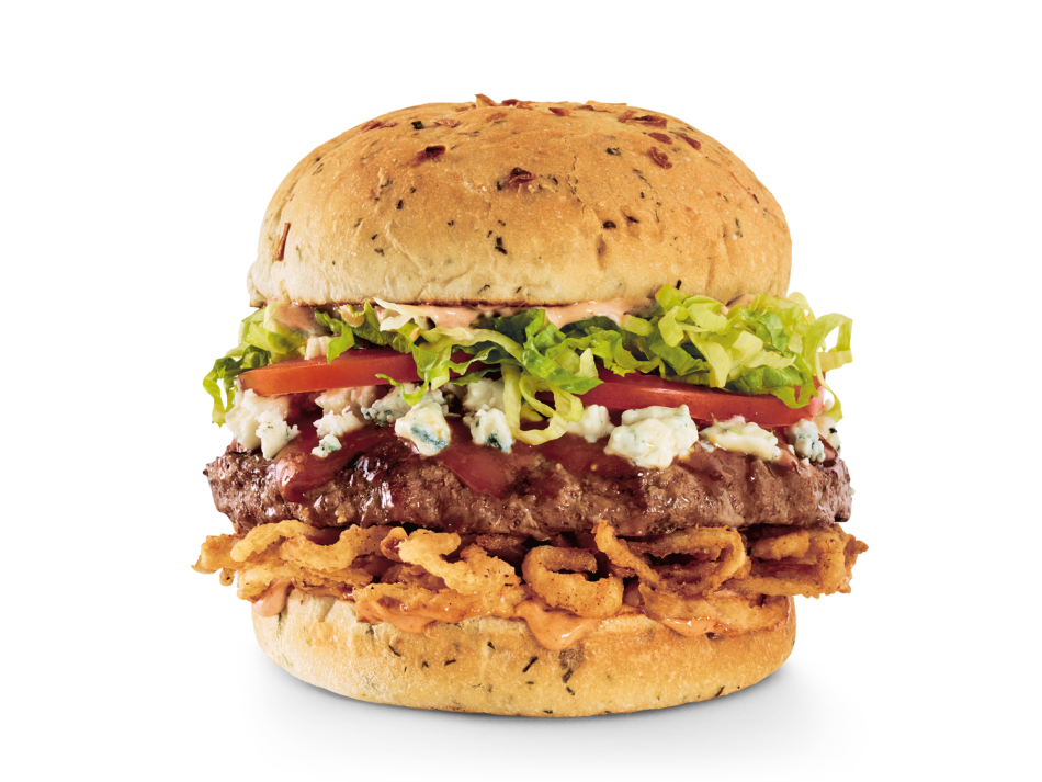 Gourmet steak sauce, Bleu cheese crumbles, crispy onion straws, lettuce, tomatoes and chipotle aioli on an onion bun.
