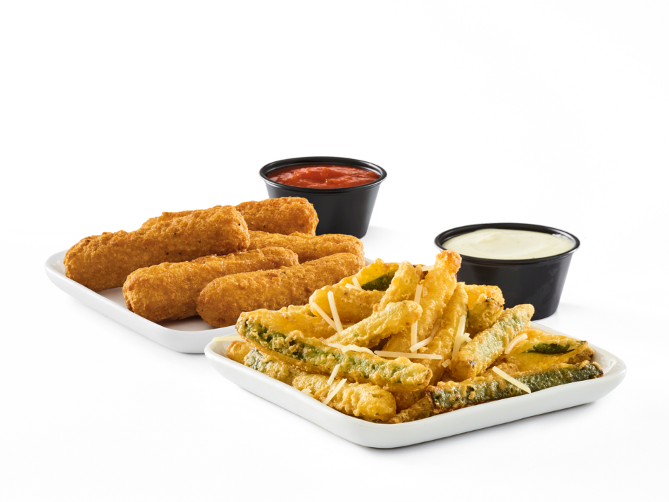 Pick 2 golden-fried faves: Zucchini Fries • Jalapeño Coins • Cheese Sticks • Sweet Potato Fries