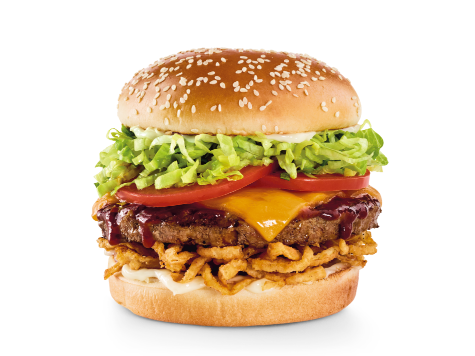 Whiskey River® BBQ Sauce, crispy onion straws, Cheddar, lettuce, tomatoes and mayo.