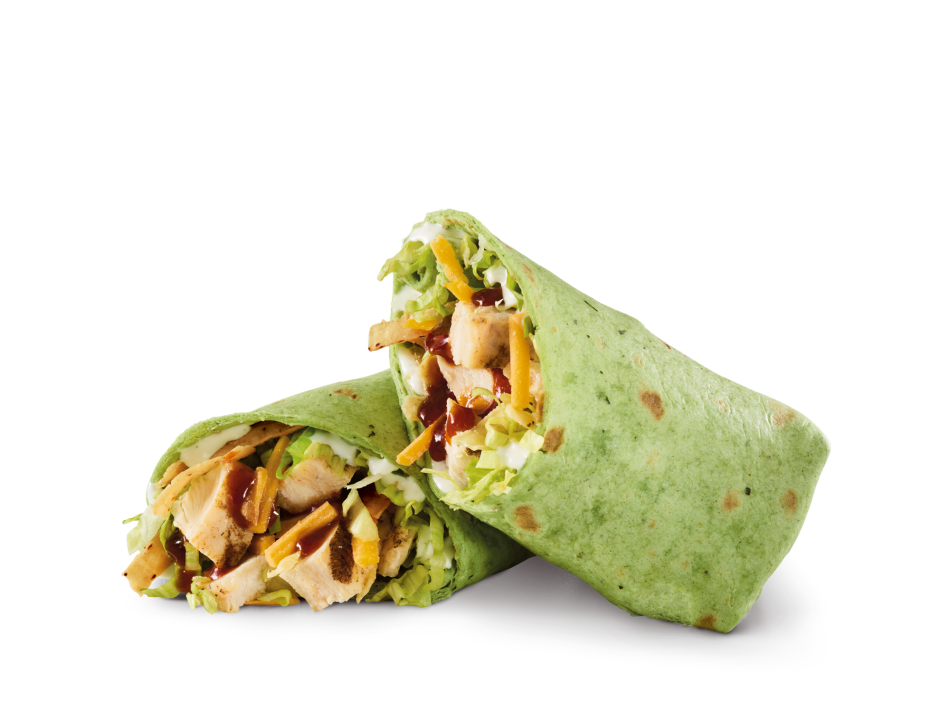 Sliced chicken breast, Whiskey River® BBQ Sauce, Cheddar, lettuce, tortilla strips and ranch in a spinach tortilla.