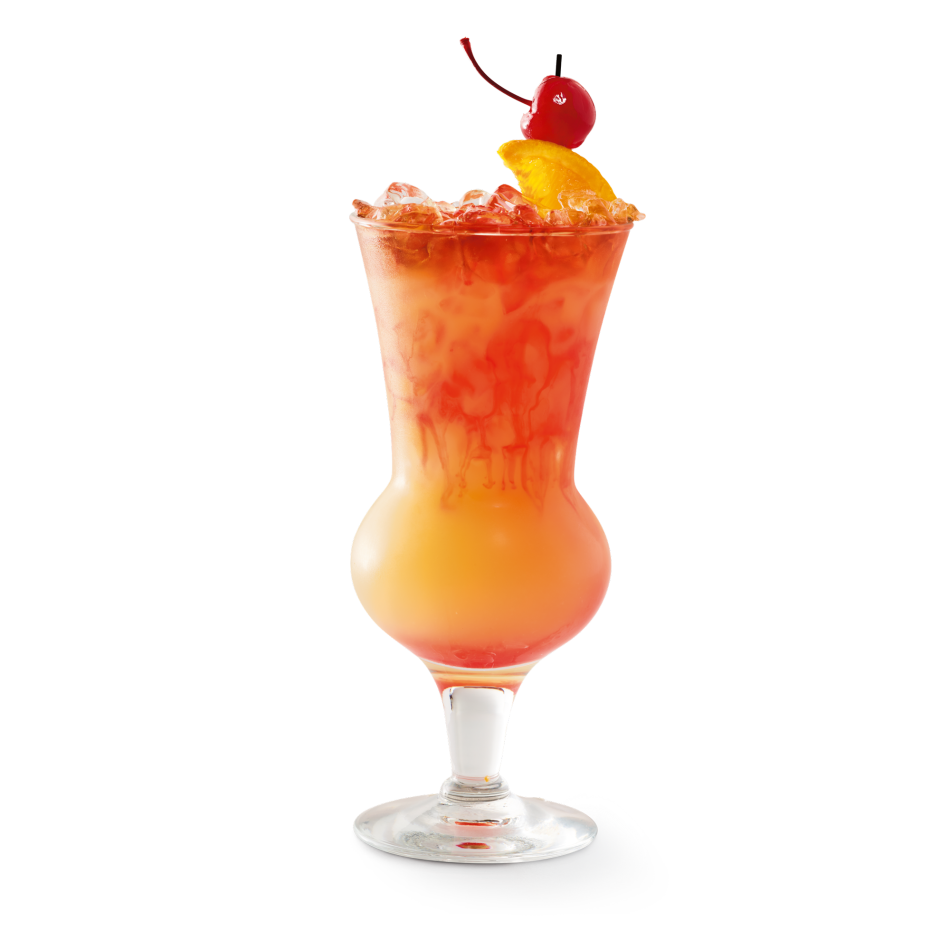 Rum, sweet and sour, orange juice and grenadine topped with Bacardi® Black and Myers's® Dark rum floats.