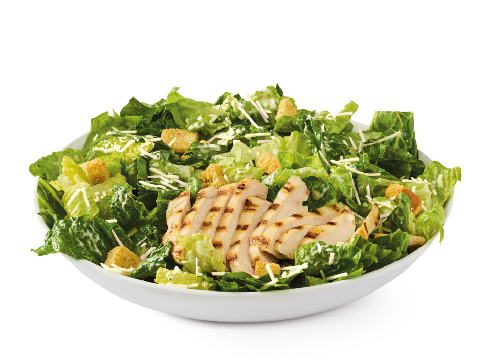 Grilled chicken breast, romaine lettuce, croutons and shredded Parmesan with Caesar dressing.