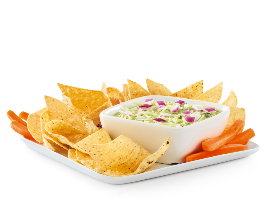 Topped with red onions and Parmesan cheese. Served with carrot sticks and sea salted tortilla chips.