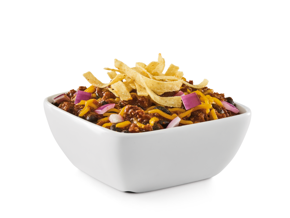 Zesty fire-grilled beef simmered with spices, beans and peppers. Finished with Cheddar, red onion and tortilla strips.