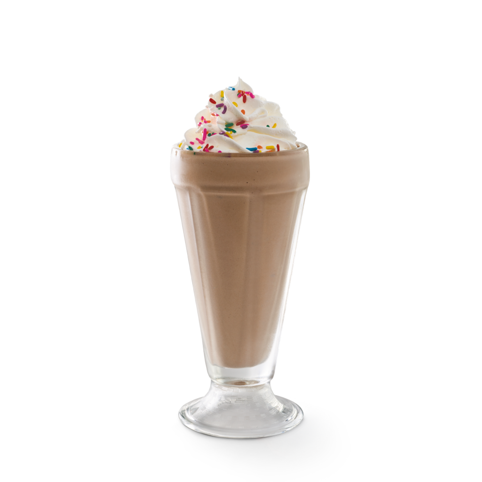 Creamy soft-serve blended with milk and chocolate syrup. Garnished with whipped cream and rainbow sprinkles.