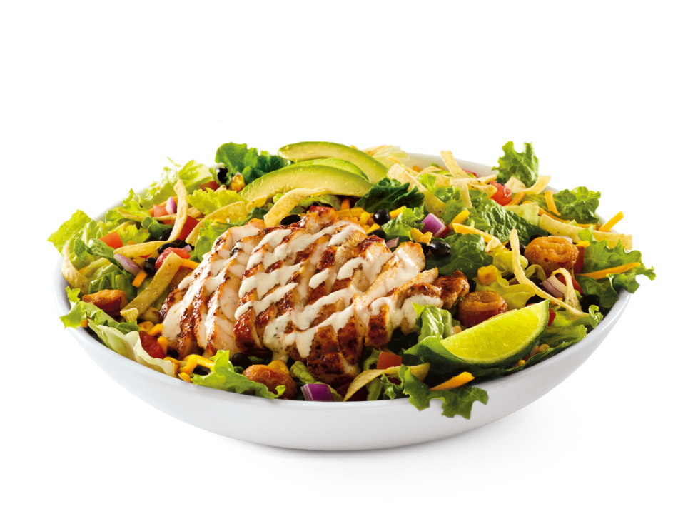 Ancho-grilled chicken, beans, avocado, jalapeños, tortillas and southwest veggies on mixed greens with salsa-ranch dressing.