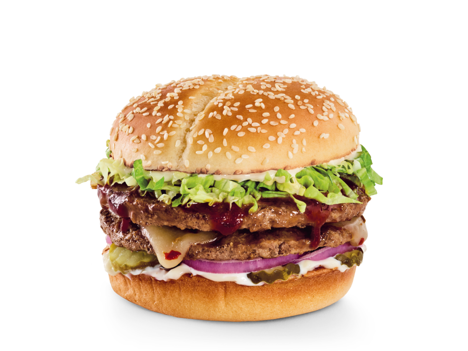 Topped with Whiskey River® BBQ Sauce, Pepper-Jack, pickles, red onions, lettuce and mayo.