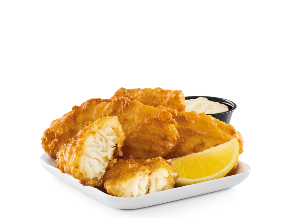 Hand-battered, golden-fried cod fillets with Bottomless Steak Fries® and Dill'd & Pickl'd Tarter Sauce.