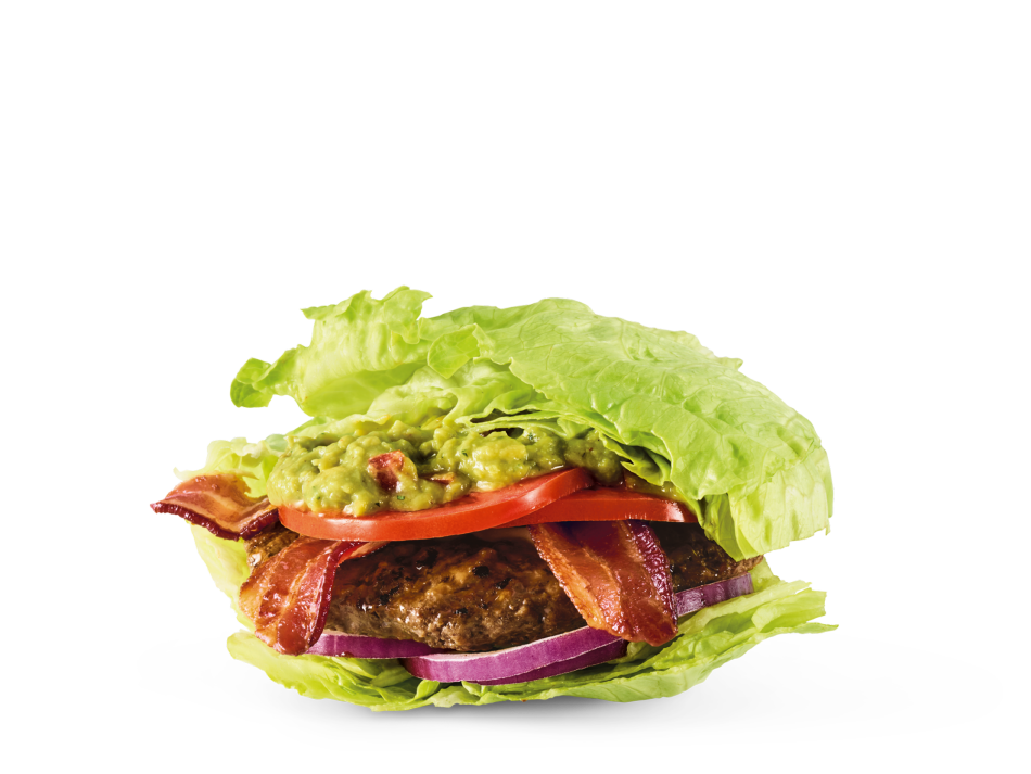 Hardwood-smoked bacon, house-made guac, tomatoes and red onions in a lettuce bun. Served with a Bottomless side salad.