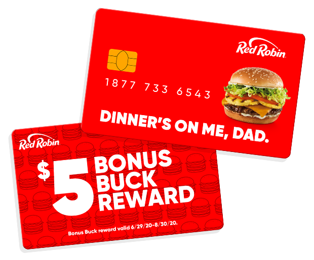 Father's Day-themed Red Robin gift card and $5 bonus buck reward.