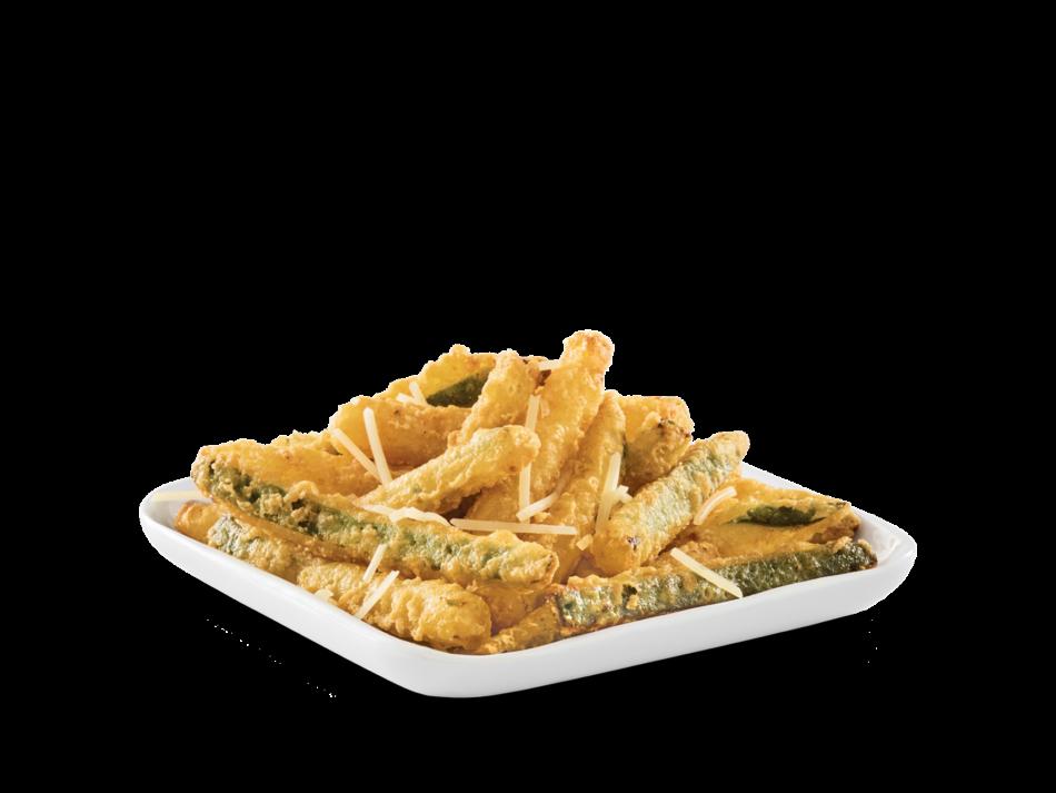 Zucchini in a light tempura batter, fried crisp.