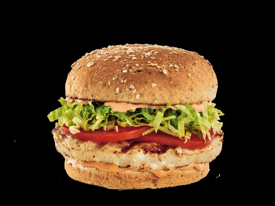 Seasoned turkey patty, lettuce, tomatoes and chipotle aioli on a multigrain bun.