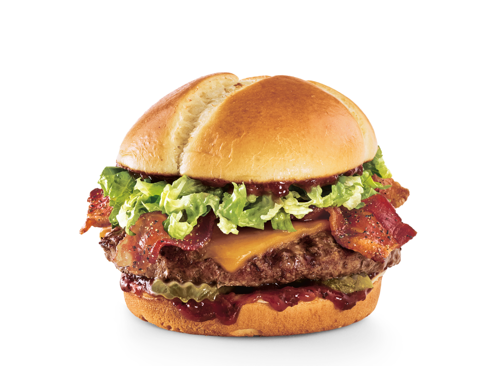 Black-peppered bacon, Cheddar, lettuce, dill pickle planks and Smoke & Pepper™ ketchup on a toasted brioche bun.