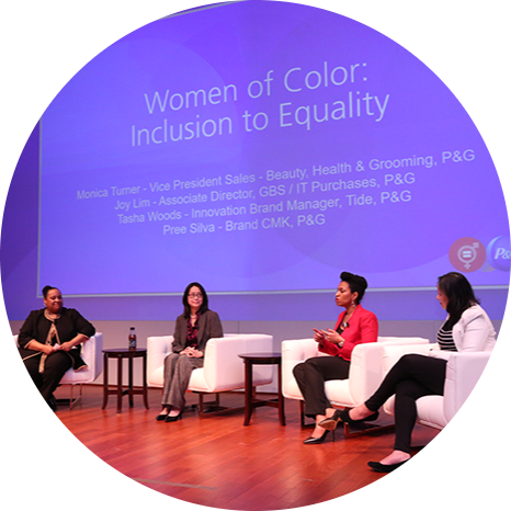 Monica Turner, Joy Lim, Latasha Woods and Pree Silva of P&G have a meaningful conversation about women of color in the workplace