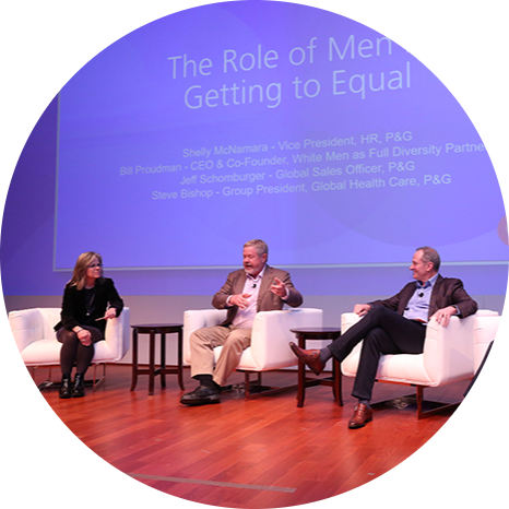 Shelly McNamara moderates a discussion with Bill Proudman, CEO and Co-Founder of White Men as Full Diversity Partners, and Jeffrey Schomburger and Steven Bishop of P&G about the important role men play in creating a more equal world