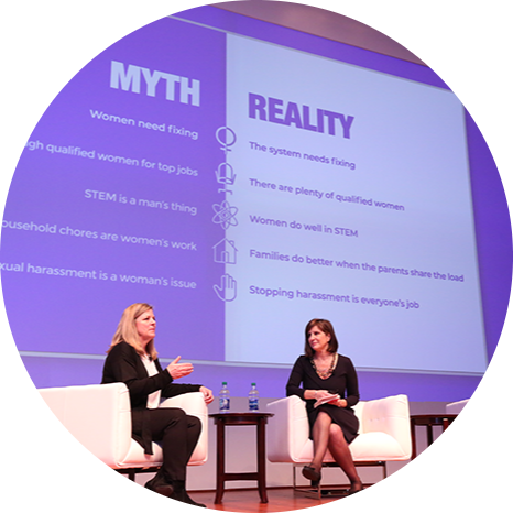Deanna Bass, P&G Director of Global Diversity and Inclusion, and Kim Azzarelli, co-founder of Seneca Women, discuss the myths holding women back in the workplace