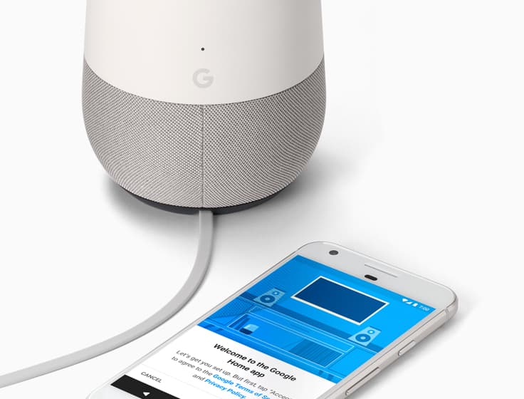 Google pixel connected to Google Home