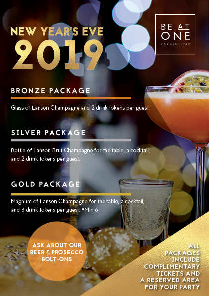 123955 - BE AT ONE - NEW YEARS EVE SET PACKAGES - NO PRICE - A5 LEAFTLET - TP