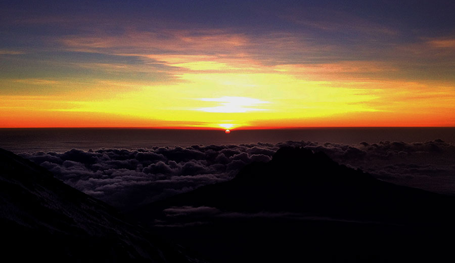 The amazing sun rises to guide us the rest of the way to the top...