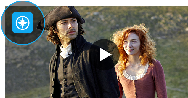 A frame from Poldark with the blue Austin PBS Passport compass rose logo in the top left, which is circled.