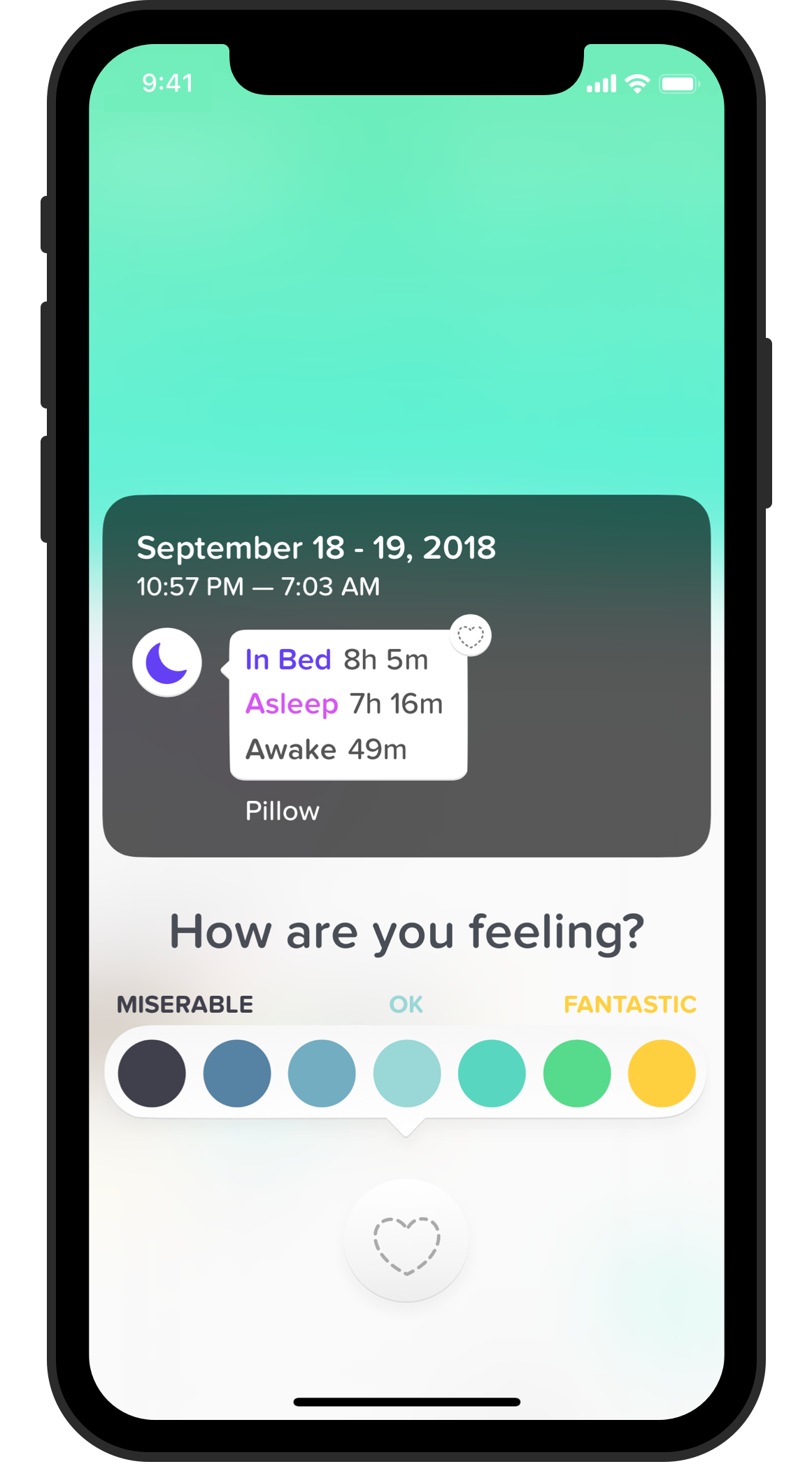 Wellness can attach a mood to your sleep entries from other apps.