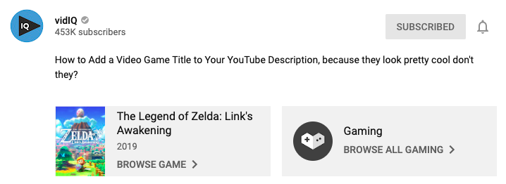 video games youtube description box