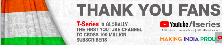 T Series 100M YouTube Subscribers