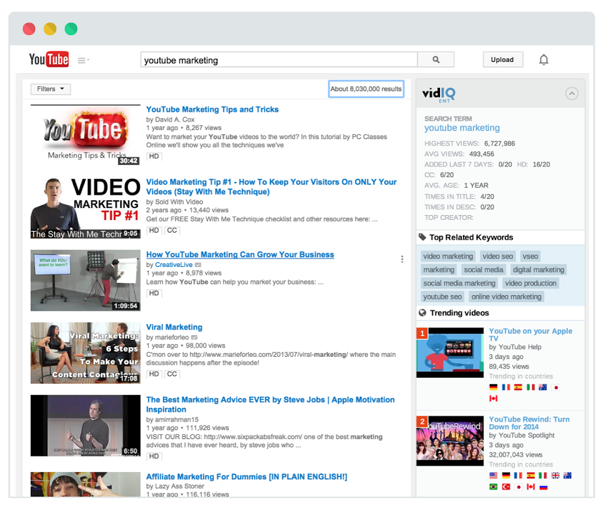 vidIQ Pro and YouTube Keyword Tool